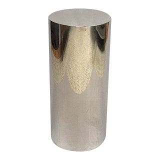 Modern Chromed Steel Cylinder Pedestal Drum Table