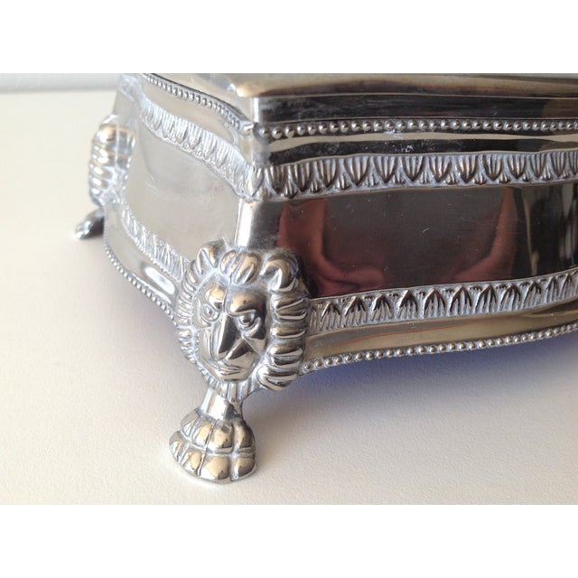 Silver Plated Lion-Footed Engraved Keepsake Box - Image 7 of 11
