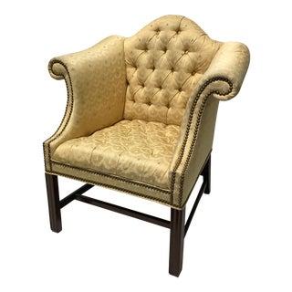Vintage Fairington Mahogany Frame Button Tufted Arm Chair