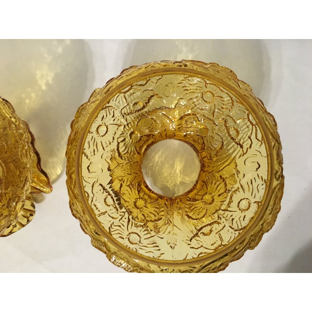 Fenton Amber Poppy Glass Lamp Shades- A Pair - Image 7 of 8