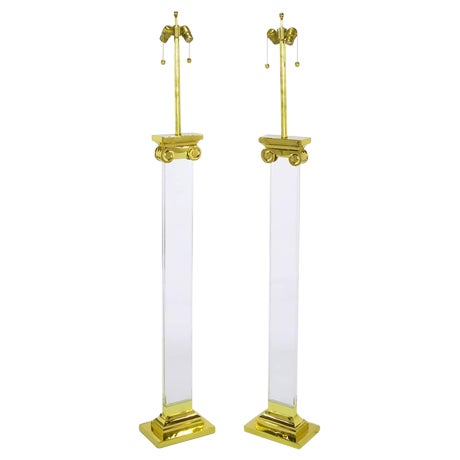 Image of Pair Lucite and Brass Neoclassical Ionic Column Floor Lamps