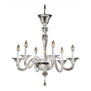 Two Clear Murano Glass Chandeliers Attributed to Venini