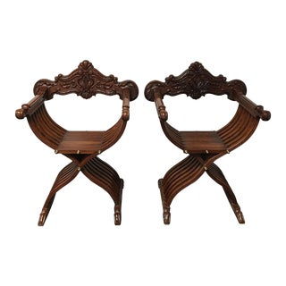 Side Wood Folding Chairs - Pair