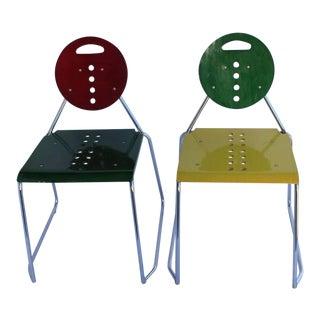 "1980s Memphis Style Italian ""Charlie"" Chairs by Bimbi Gioacchini Design"