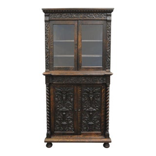 Antique Renaissance Revival Corner China Cabinet