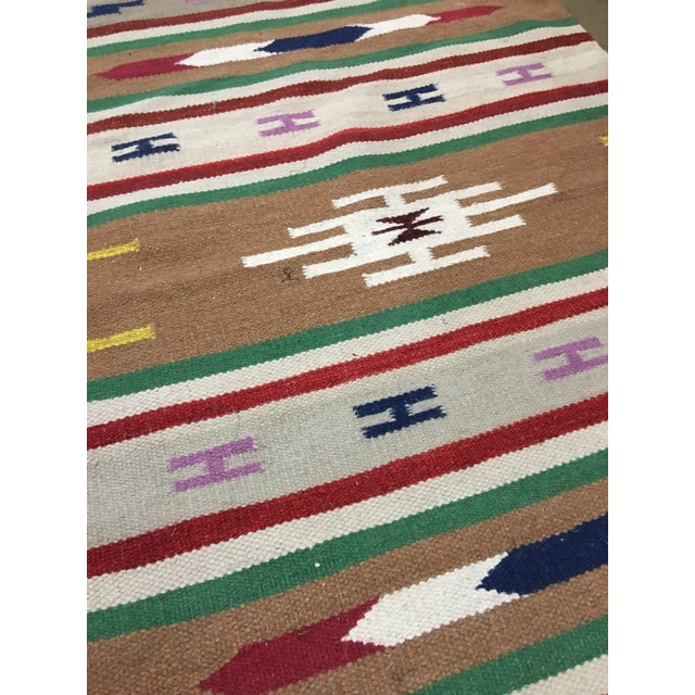 Handmade Geometric Aztec Rug - 2′11″ × 5′ - Image 7 of 7