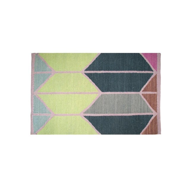 Image of 4' X 6' Blue Shapes Dhurrie Rug - Retail $300