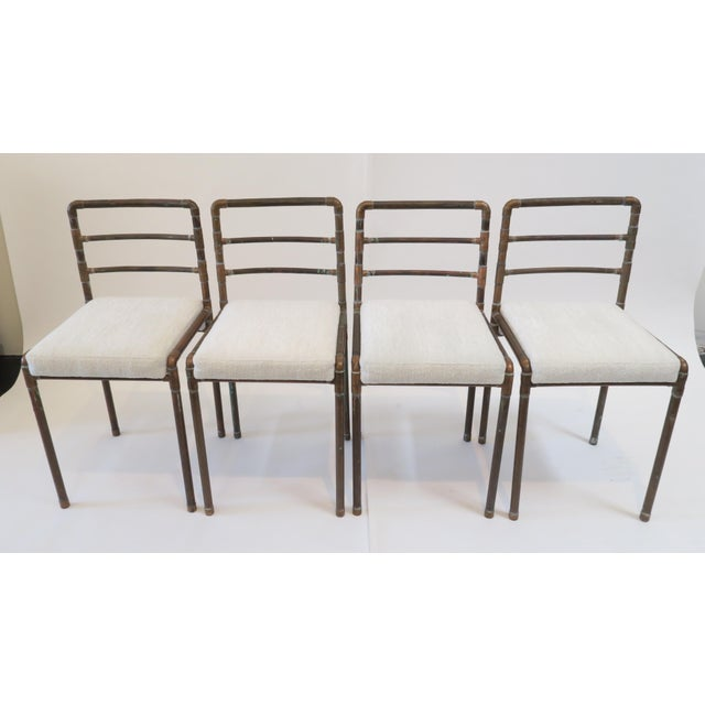 Copper Upholstered Pipe Chairs - Set of 4 - Image 2 of 8