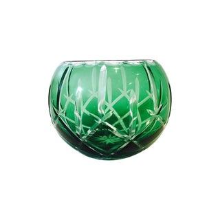 Emerald Green Cut-Crystal Bowl