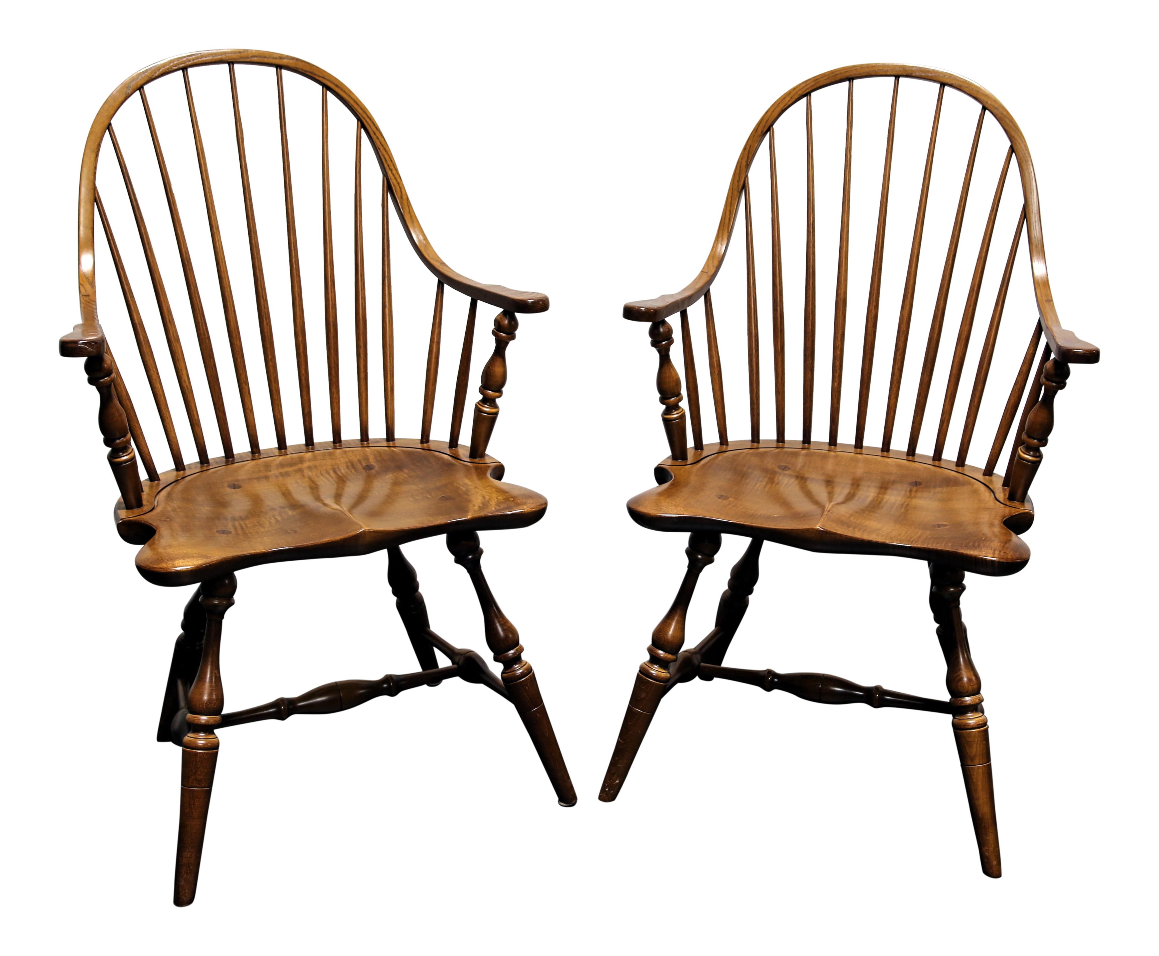 Frederick Duckloe U0026 Bros Colonial Reproductions Cooper Windsor Chairs   A  Pair