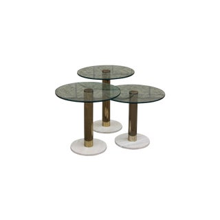 Vintage Pace Brass and Glass Nesting Tables
