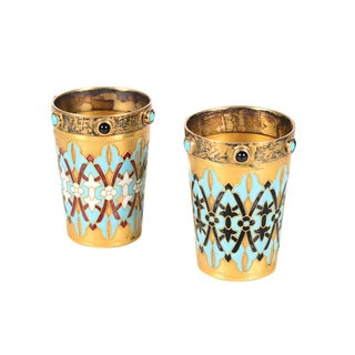 Antique Russian Silver Gilt & Enamel Shot Glasses - A Pair