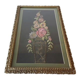 1920s Framed Embroidery Floral Silk