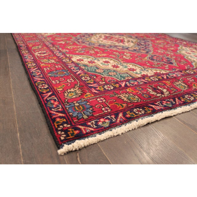"Vintage Red & Blue Persian Rug - 4'8"" X 6'3"" - Image 3 of 4"
