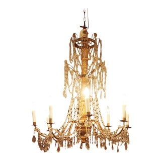 19c. Giltwood and Crystal Genoa Chandelier