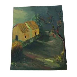 Antique Old House Oil Painting on Canvas
