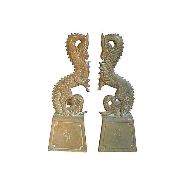 Image of 1930s Brass Dragon Fireplace Andirons - Pair