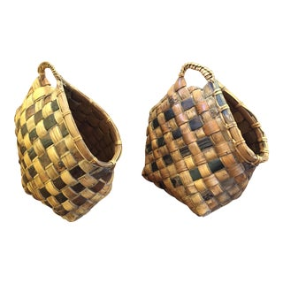 Woven Bamboo Baskets - A Pair