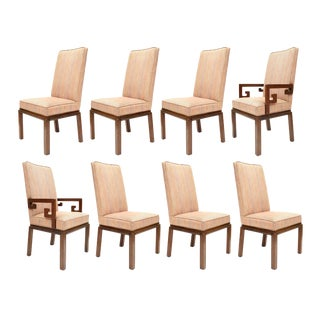 Vintage Baker High Back Upholstered Dining Chairs - Set of 8