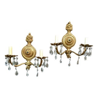 Neoclassical Brass & Crystal Wall Sconces - A Pair