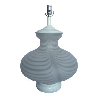 White Murano Table Lamps - A Pair