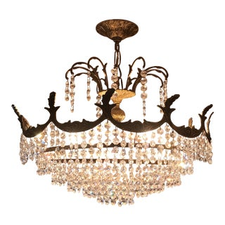 Art Deco Crystal and Brass Light Fixture