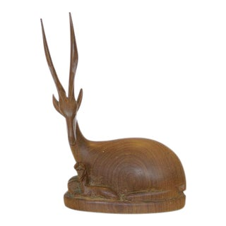 Carved Wood Eland Sculpture