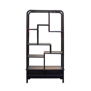 Simple Oriental Uneven Open Curio Display Cabinet