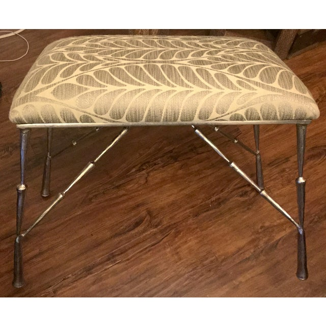 Nickel Bamboo Stool With Custom Upholstery - Image 2 of 6