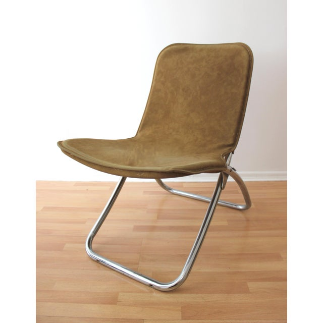 Image of Faux Camel Suede Folding Lounge Chairs - A Pair