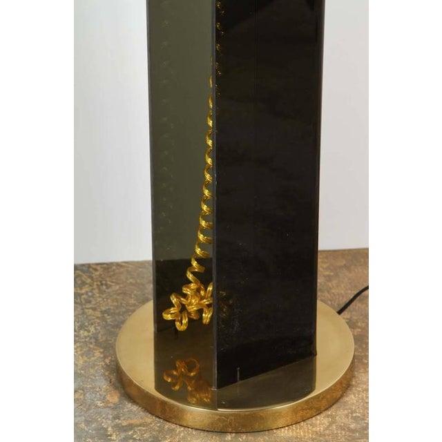 Smoke Acrylic and Brass Mid-Century Floor Lamp - Image 6 of 7