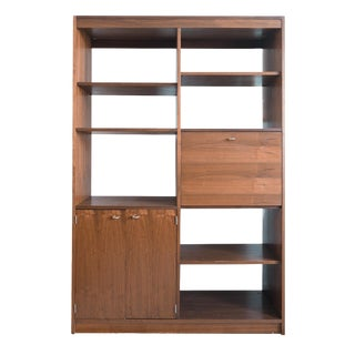 Mid Century Modern Walnut Room Divider Shelf Unit