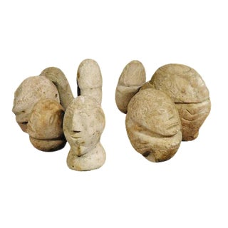 1960s Handcrafted Clay Heads - Set of 9