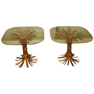 Hollywood Regency Wheat Sheaf Side Tables - A Pair