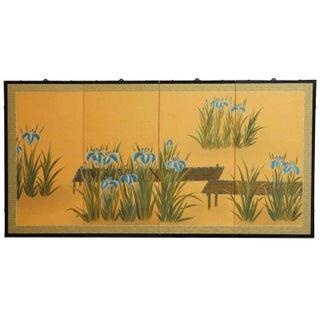 Japanese Four-Panel Folding Byobu of Iris Pond