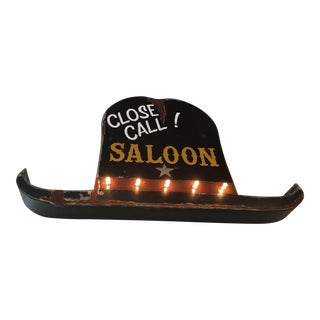 Vintage 40s Style Western Close Call Saloon Sign