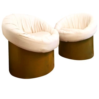 Round Mushroom Wood Plinth Barrel Chairs - Pair