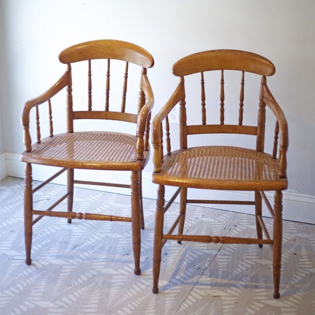 Cane Arm Chairs - a Pair - Image 2 of 4