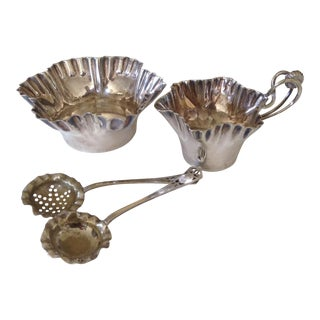 Silver Cream and Sugar with Two Spoons