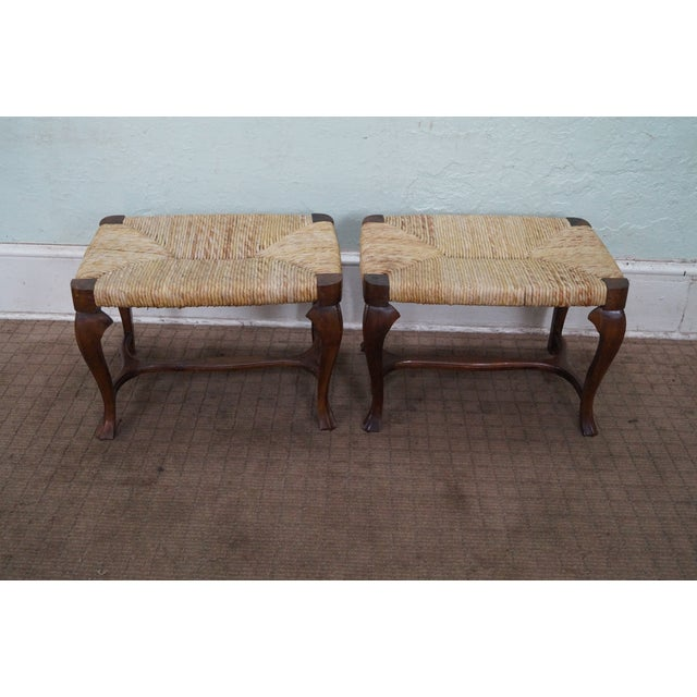 Vintage Italian Walnut Rush Seat Benches A Pair Chairish