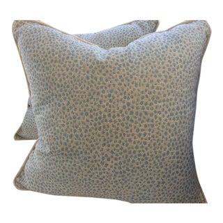 """Duralee Pillows in Powder Blue """"Blue Haze"""" Animal Print - a Pair"""
