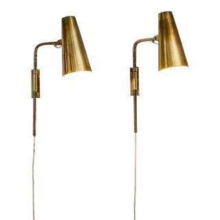 Paavo Tynell Pair of Brass Adjustable Sconces for Taito, Finland, 1950s