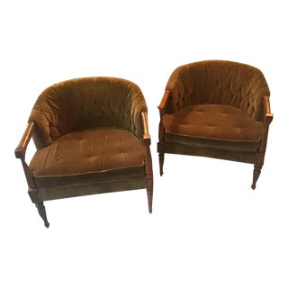 Sage Velvet Club Chairs - A Pair