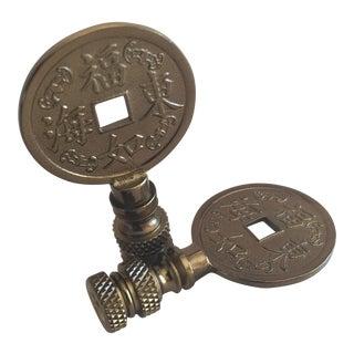 Brass Asian Symbol Lamp Finials - A Pair