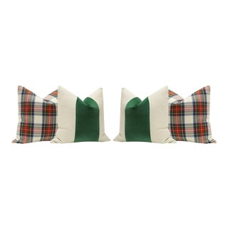 Tartan Plaid & Malachite Green Velvet Panel Pillows - Set of 4
