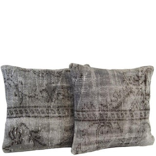 Gray Handmade Over-Dyed Rug Pillows - Pair