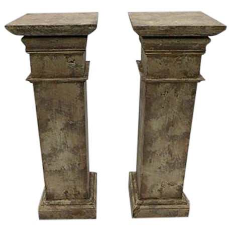 Architectural Decor Finish Wood Pedestals - A Pair - Image 1 of 7