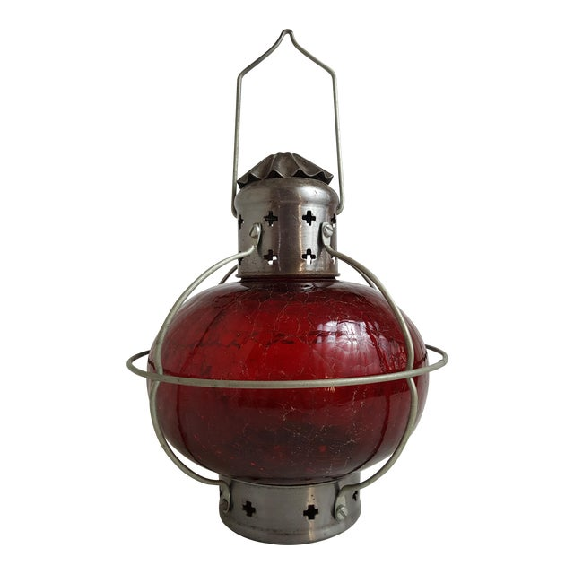 red glass railroad globe lantern chairish. Black Bedroom Furniture Sets. Home Design Ideas