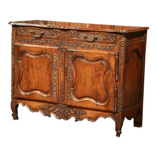18th Century, French Louis XV Carved Walnut Two-Door Buffet from Provence