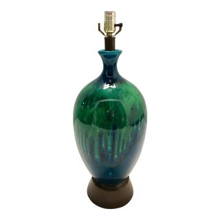 1960's Ceramic Blue & Green Glaze Lamp